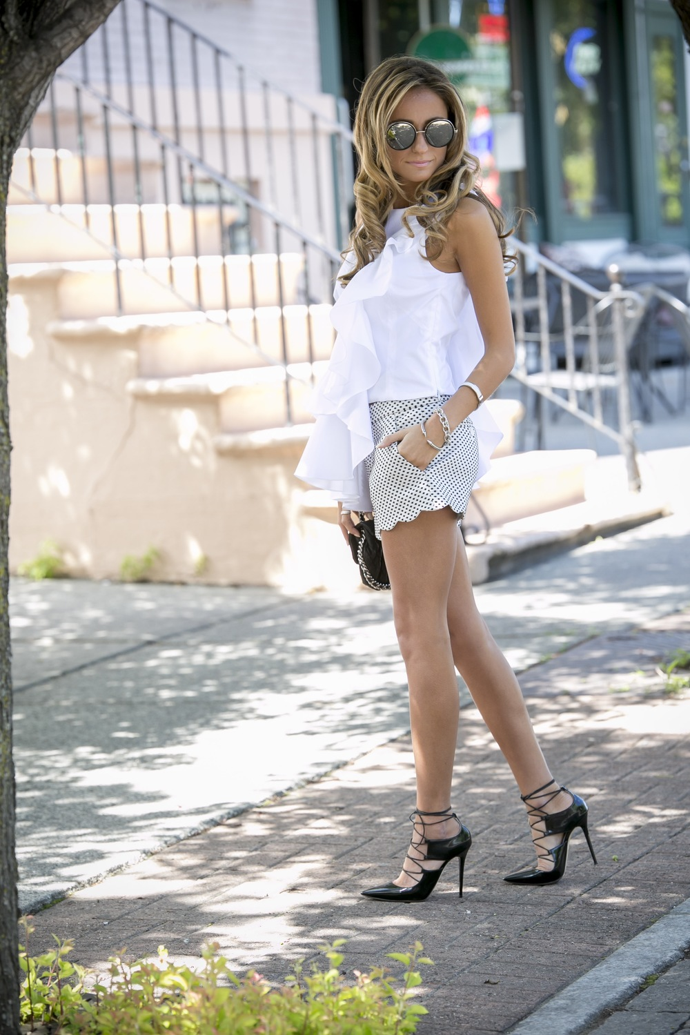 NYC fashion blogger in ruffled intermix blouse and club monaco dot shorts
