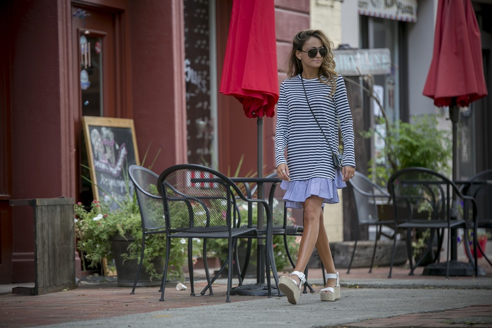 striped tee dress worn on the fourth of July