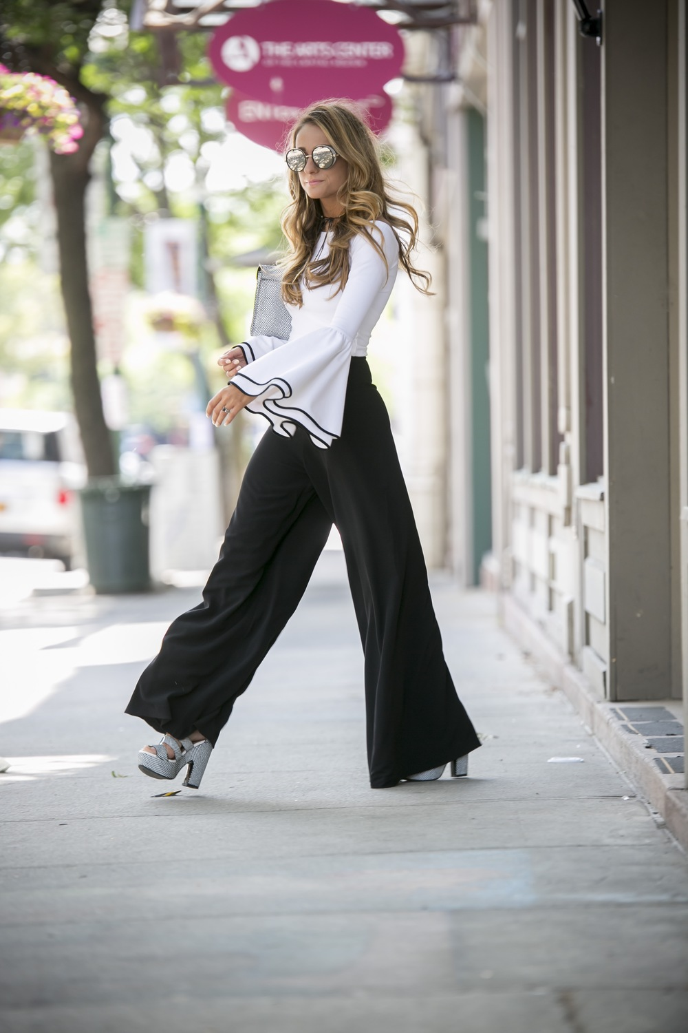 bell sleeves and wide leg trousers