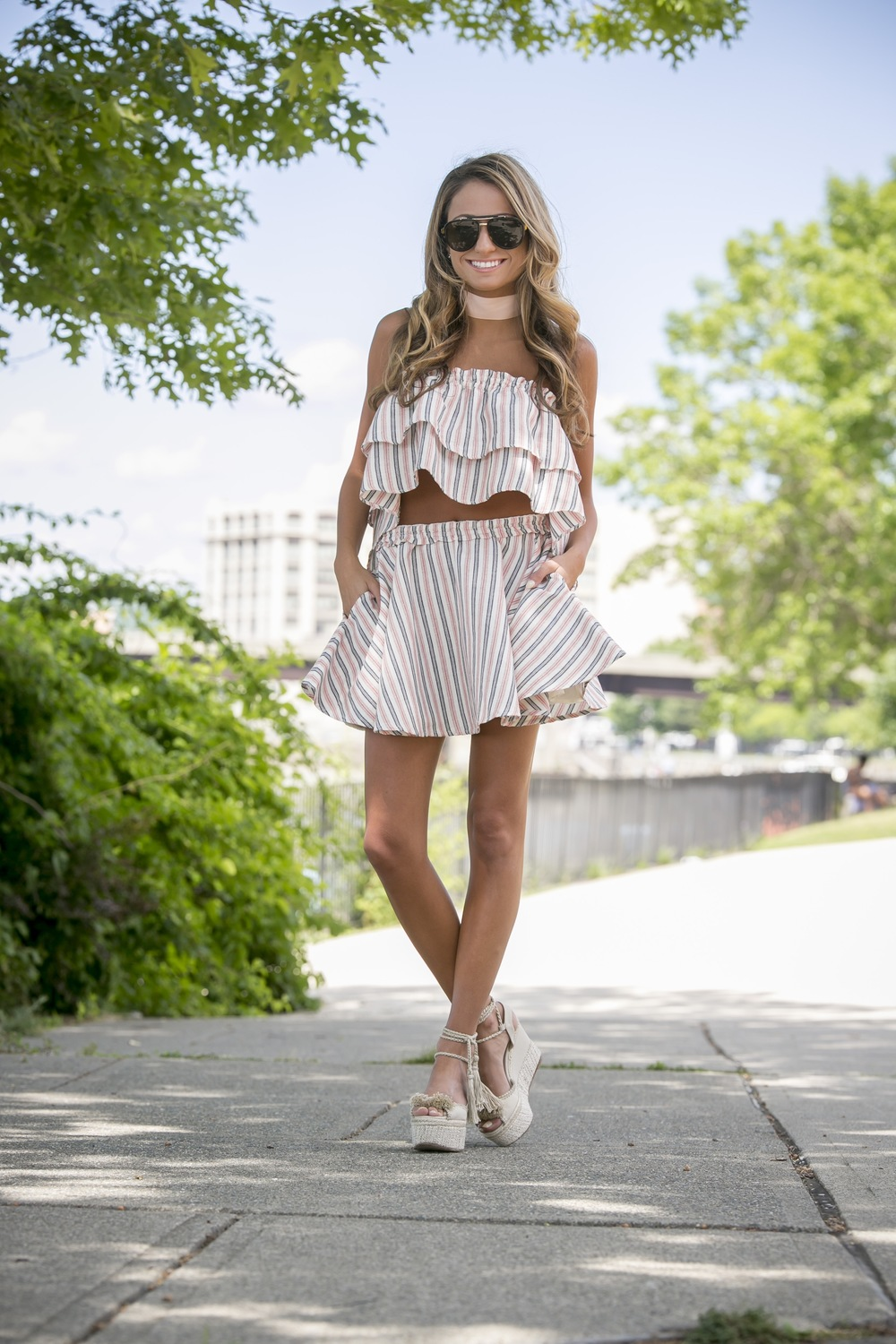 privacy please matching stripe skirt set