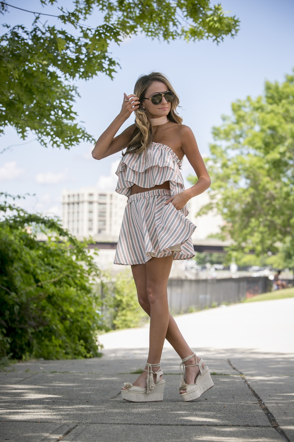 summer streetstyle featuring a matching skirt set from revolve clothing