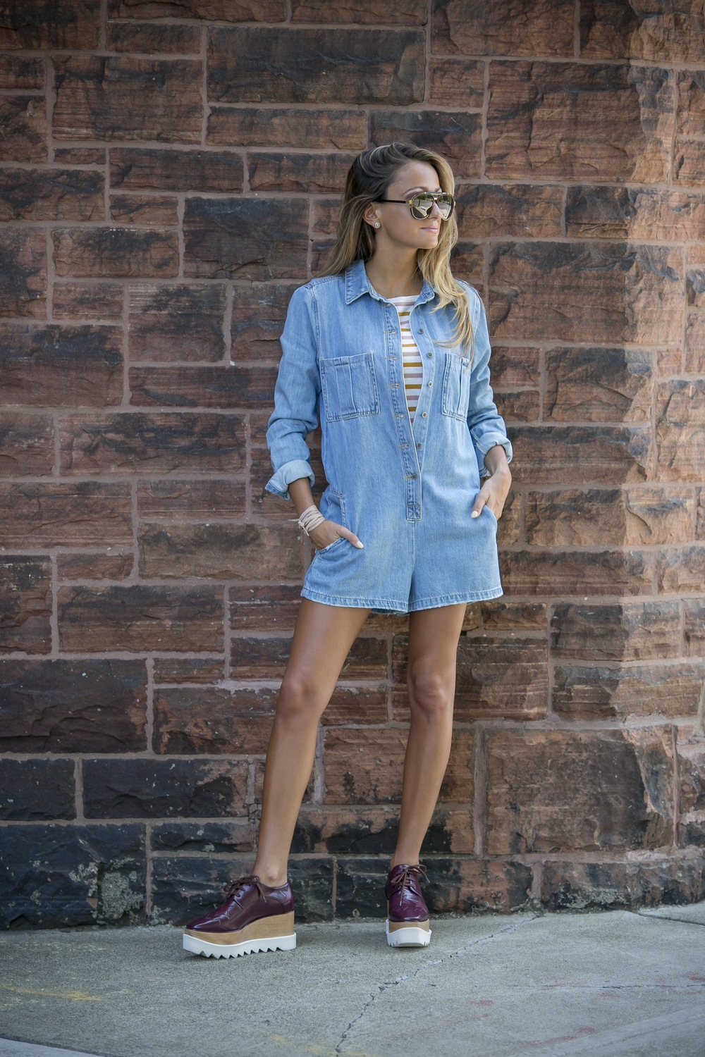 denim romper and stella mccartney platforms