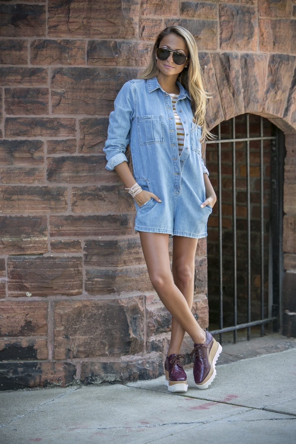 forever21 denim romper, jcrew striped tee, stella mccartney platforms worn on fashion blogger Lauren Recchia