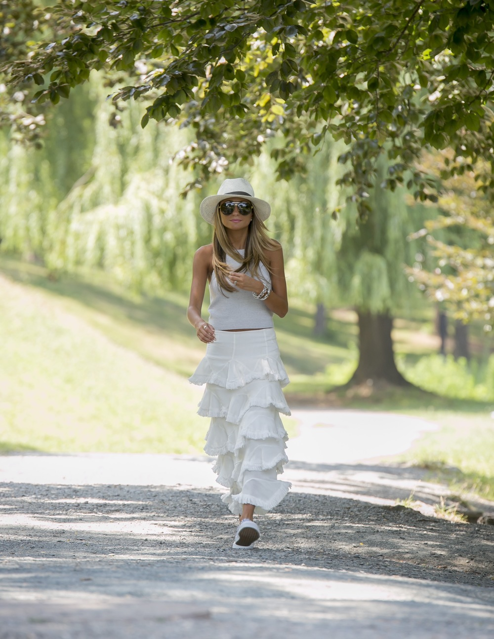white skirt with ruffles