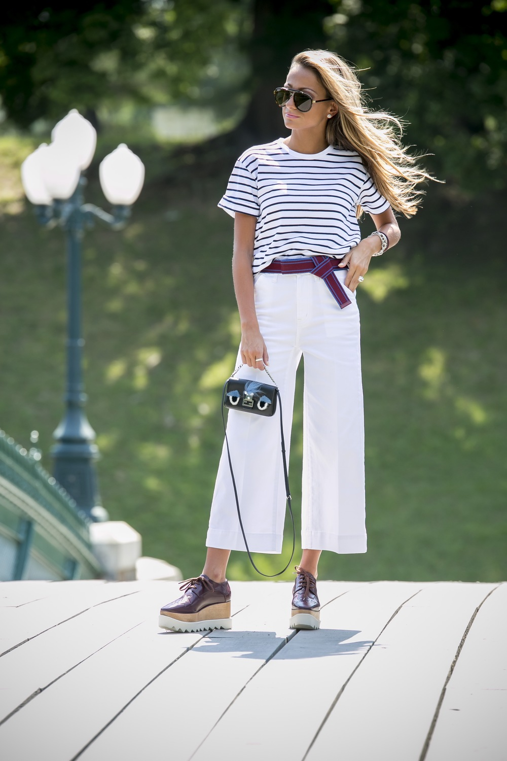 stripe tee, wide leg denim, and stella platforms