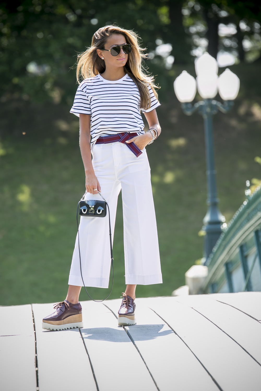 rag and bone stripes, make bow belt, made well denim, stella platforms, and fendi micro-baguette bag