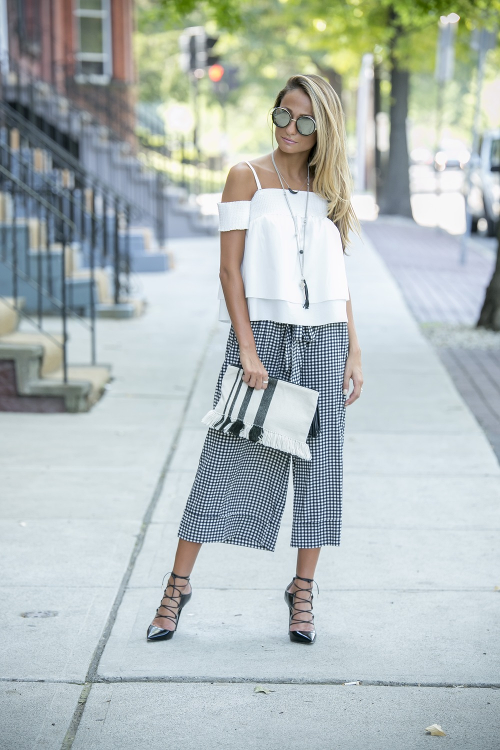 Rebecca Minkoff off of the shoulder top paired with gingham wide leg culottes