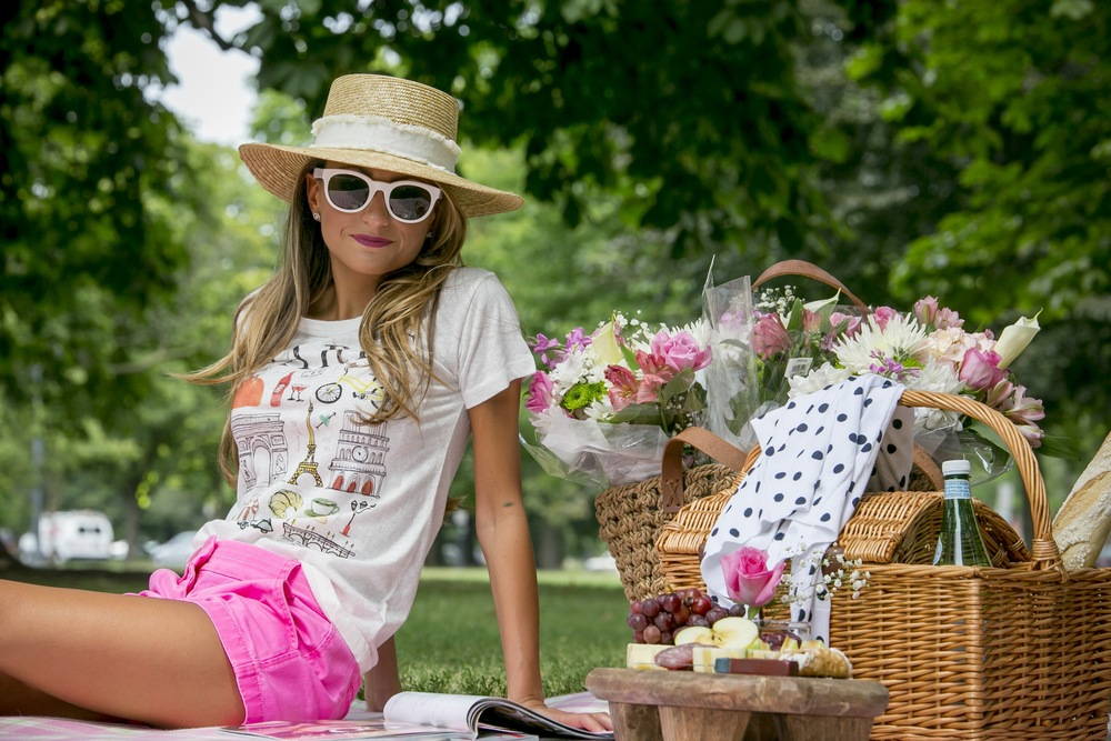 cute picnic setup with J.Crew clothing