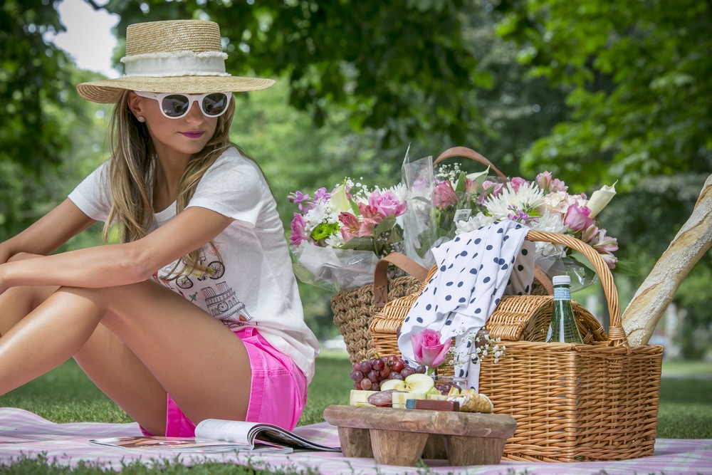 summer picnic in rag and bone hat, and J.Crew clothing