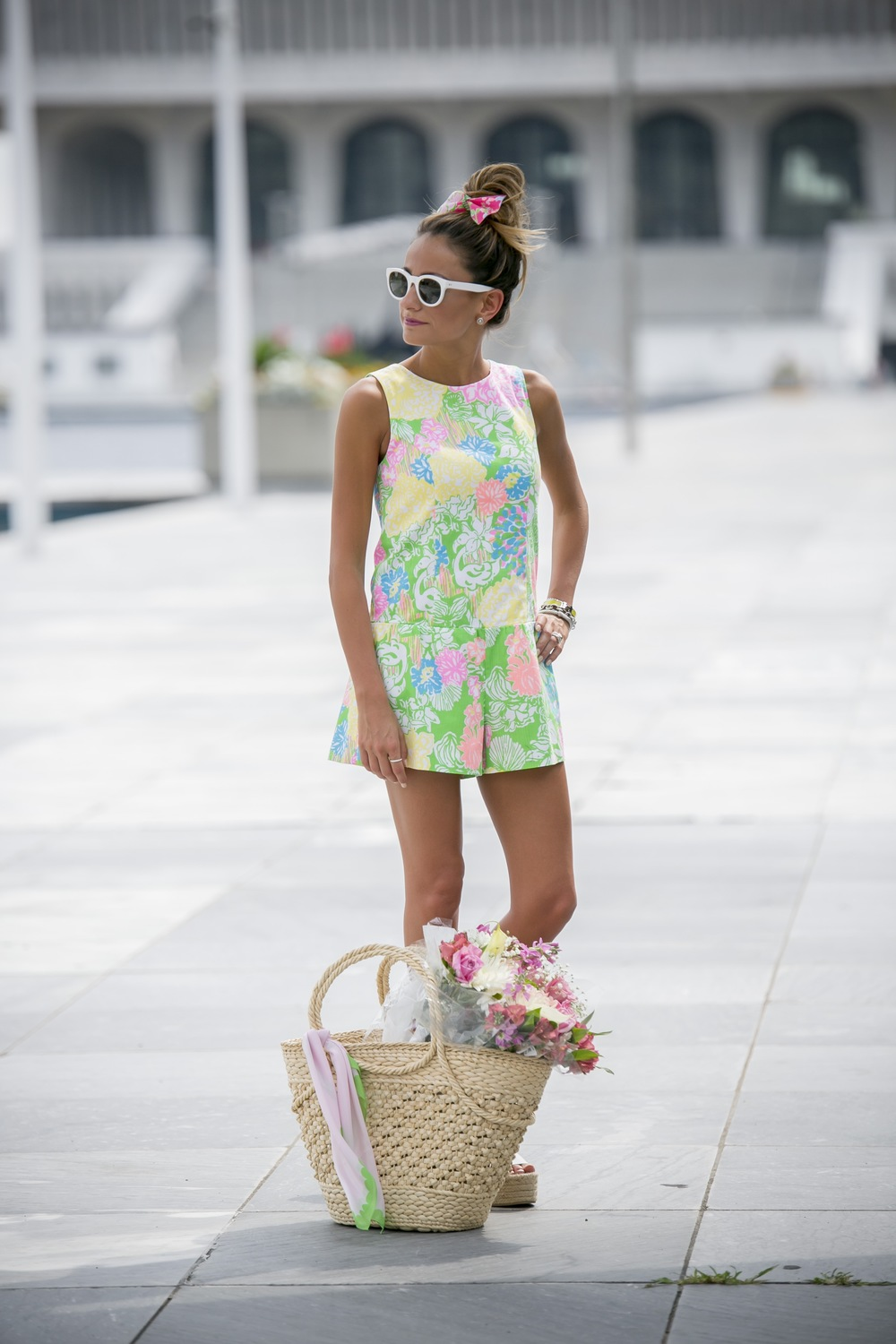 Lauren Recchia from the fashion blog north of manhattan in a Lilly Pulitzer romper