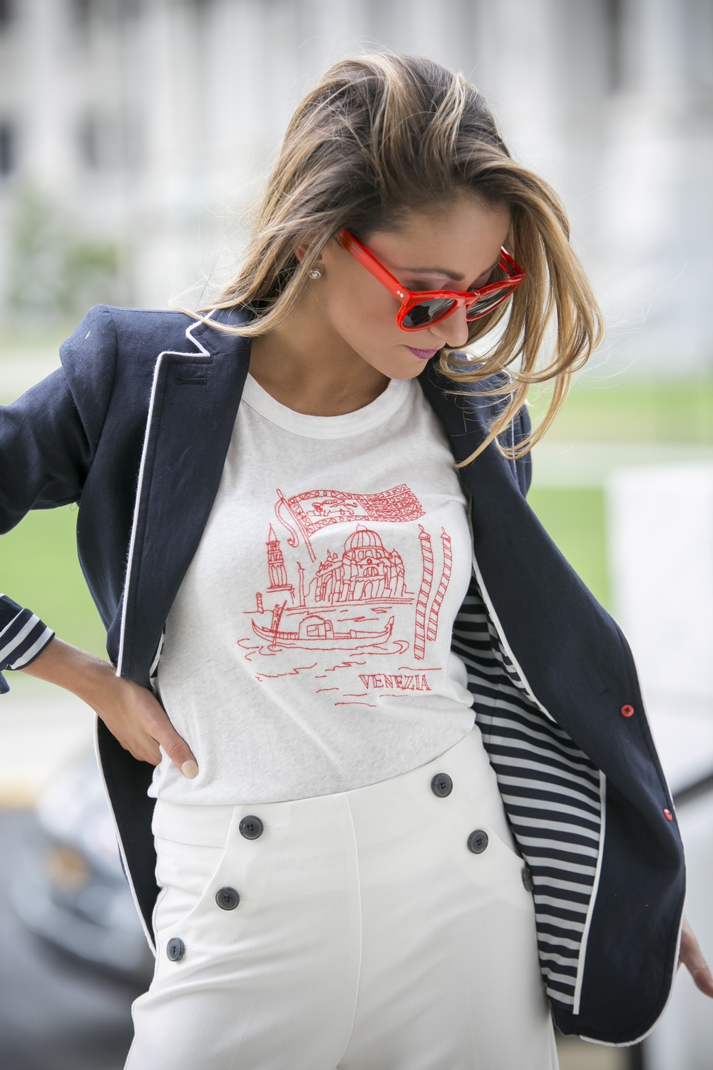Venezia tee from J.Crew paired with a linen blazer and red sunglasses