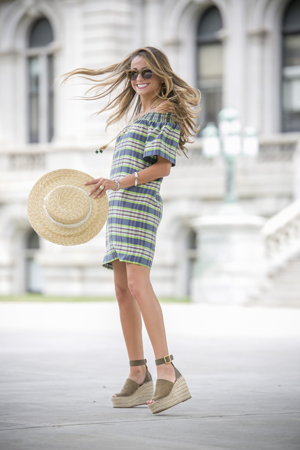 Dress: J.Crew |Necklace:J.Crew( similar )|Hat: Rag&Bone |Wedges: Chloe |Sunnies: J.Crew     Dino Petrocelli Photography