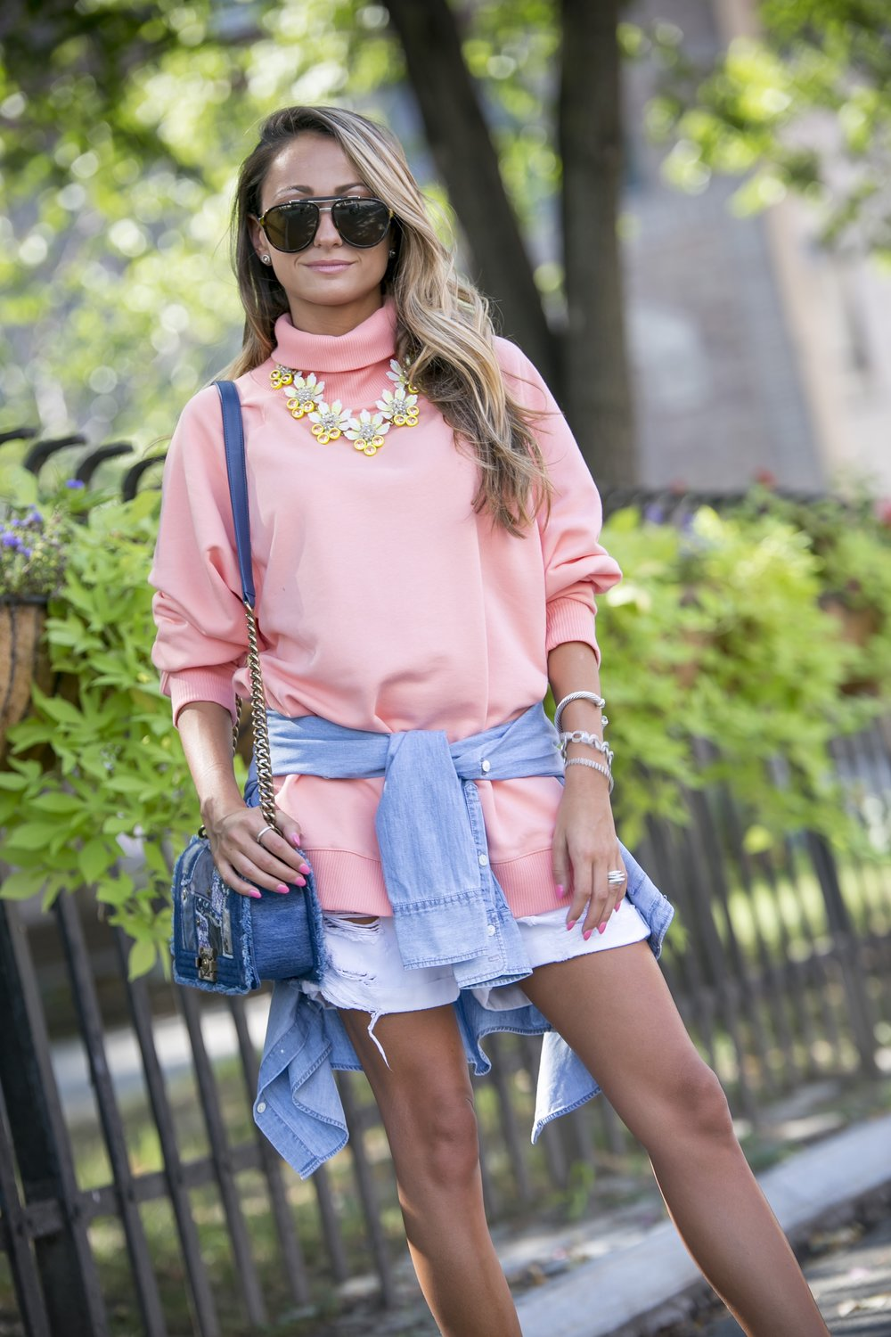 Sweatshirt:Monki|Shorts:Rag&Bone|Sneakers:Vince (older)|Necklace:J.Crew (similar) Dino Petrocelli Photography