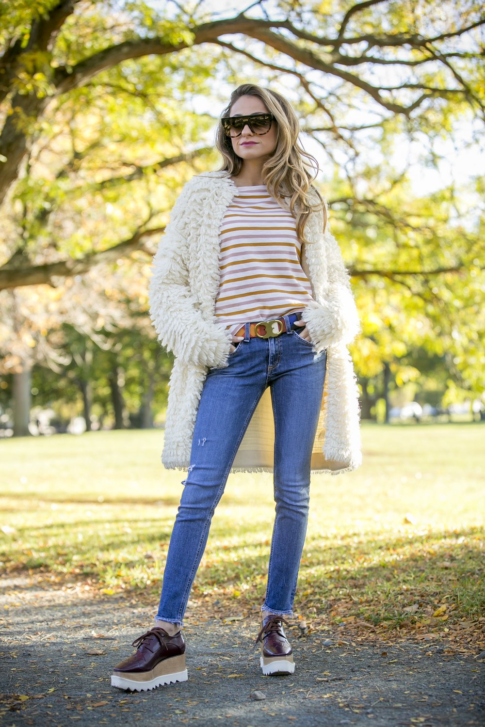streetstyle wearing J.Crew, Rag and Bone, Stella McCartney platforms