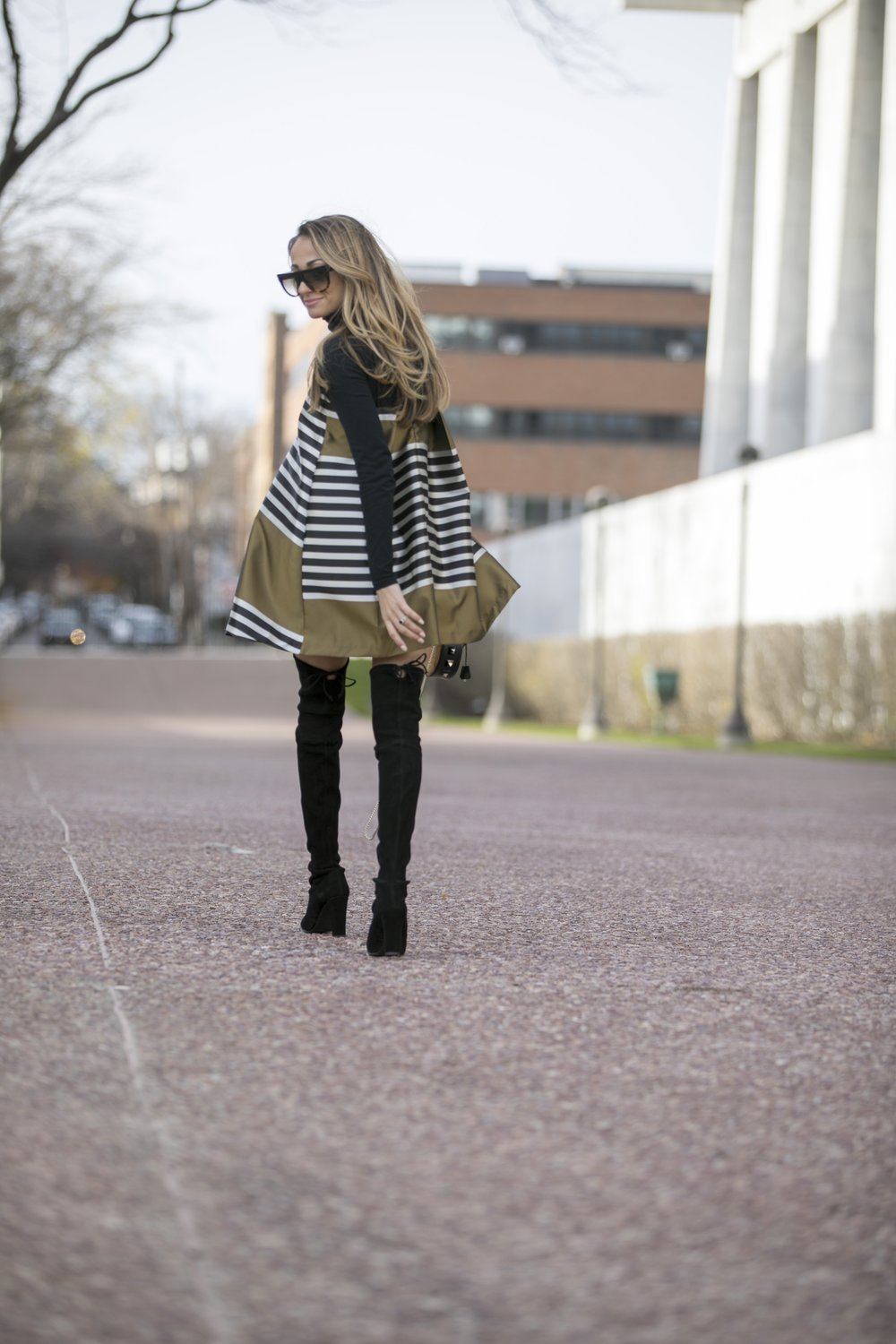 holiday dressing in a jacquard dress and stuart weitzman boots