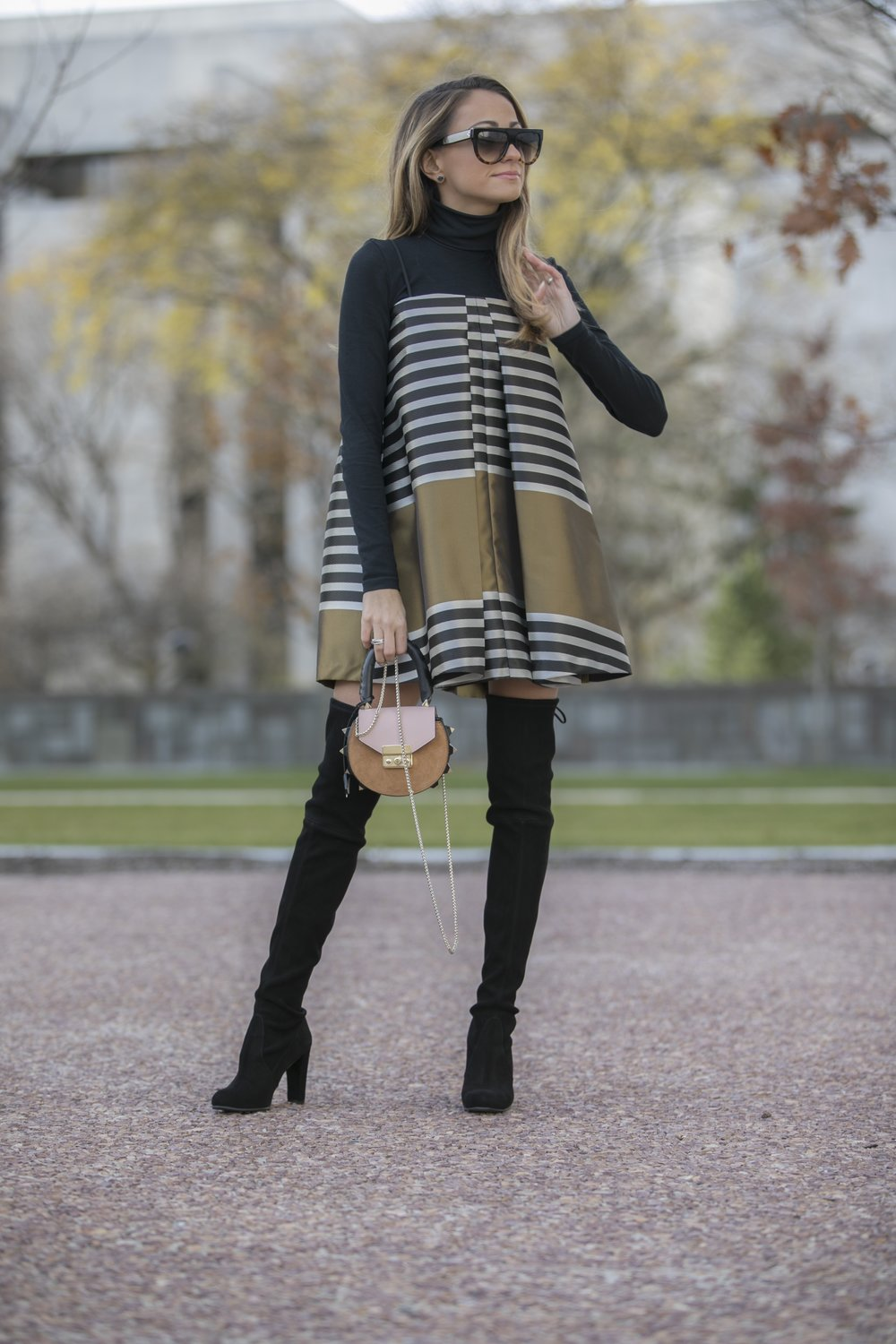 striped mini dress worn with Stuart Weitzman suede highland boots