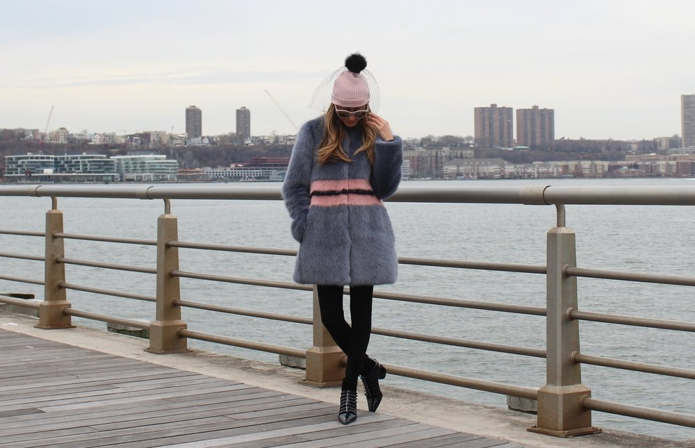 Faux Fur: Shrimps |Beanie:Kate Spade(older)|Booties:Miu Miu (sold out, also  love these )