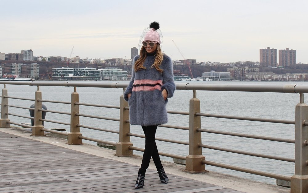 shrimps faux fur kate spade beanie and miu miu booties