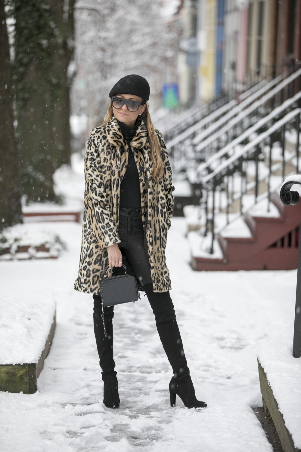 stella mccartney beret, alice and olivia leopard coat, leather leggings, stuart weitzman over the knee boots and rebecca mink bag