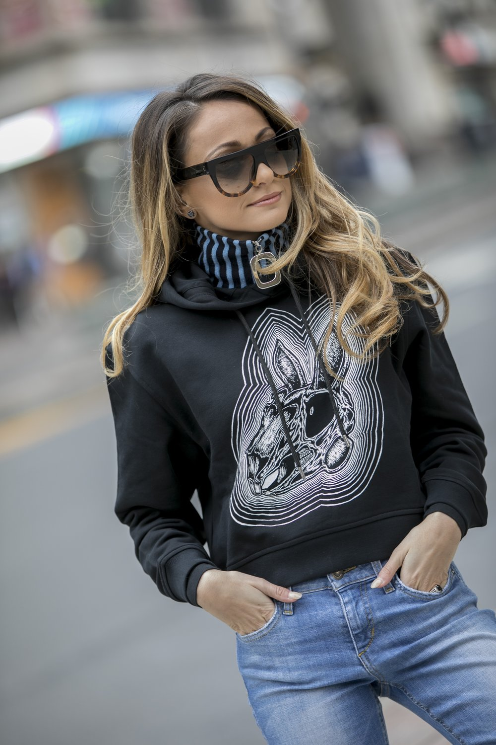 JW Anderson collar and McQ Alexander McQueen printed hoodie