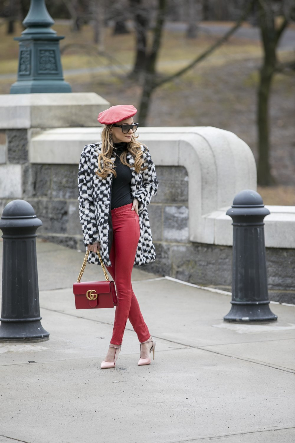 gucci leather beret and marmont bag