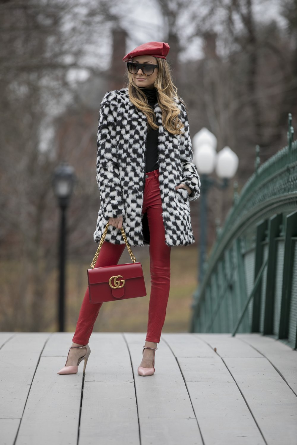 gucci beret, alice and olivia coat, L'Agence leather pants, christian dior pumps and gucci marmont bag