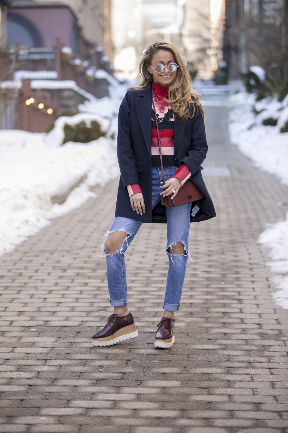 Bag: Coach |Top: & Other Stories |Denim: Levi's |Shoes: Stella McCartney |Coat:J.Crew ( similar )    Dino Petrocelli Photography