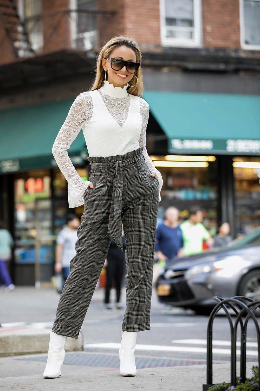 Lace bodysuit and topshop mensy trousers
