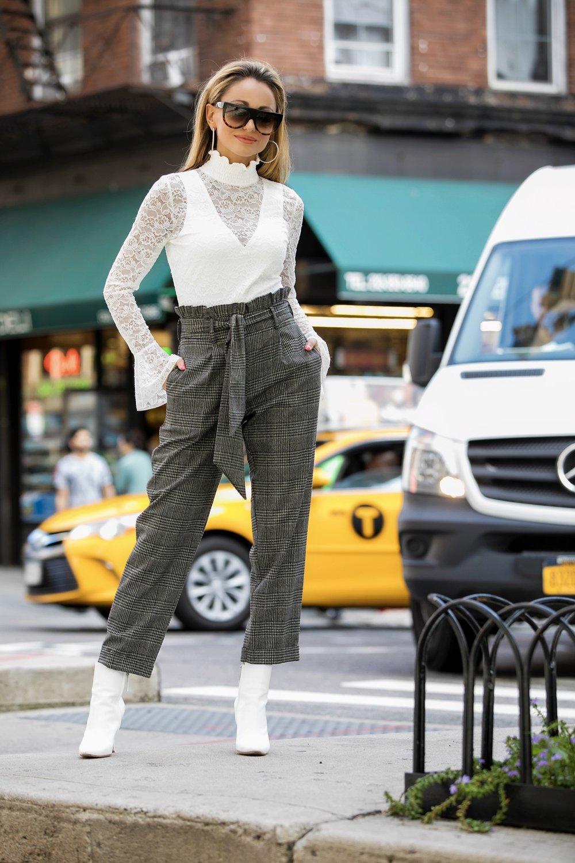 lauren recchia in intermix lace bodysuit, topshop mensy trousers, and manolo blahnik booties