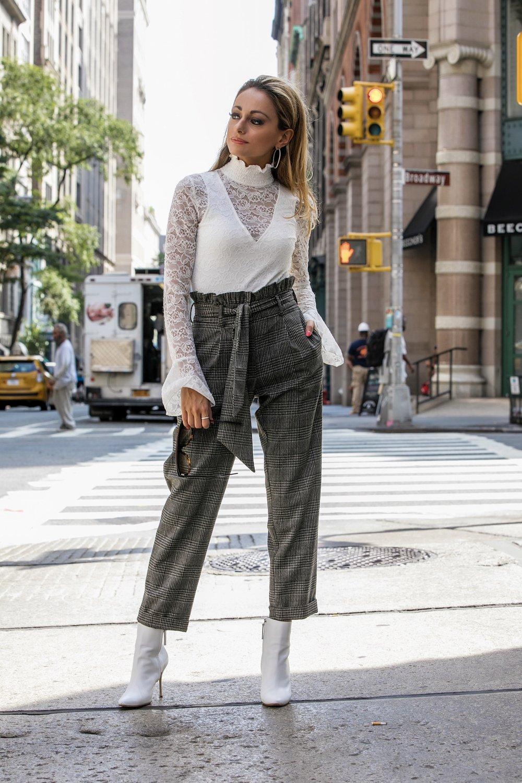 Lace Bodysuit:  Intermix | Trousers: Topshop |Booties: Manolo Blahnik     Dino Petrocelli Photography