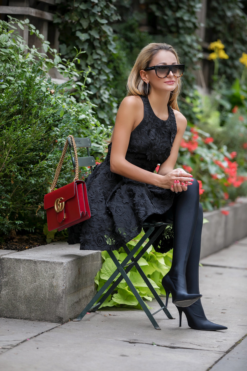 Lauren Recchia in Alice and Olivia and Balenciaga