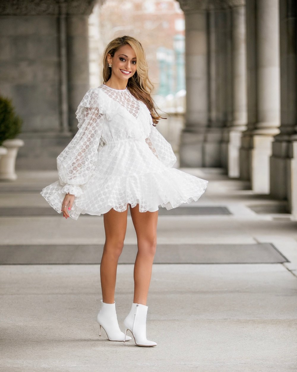 white lace dress by Milly and white Manolo Blank booties