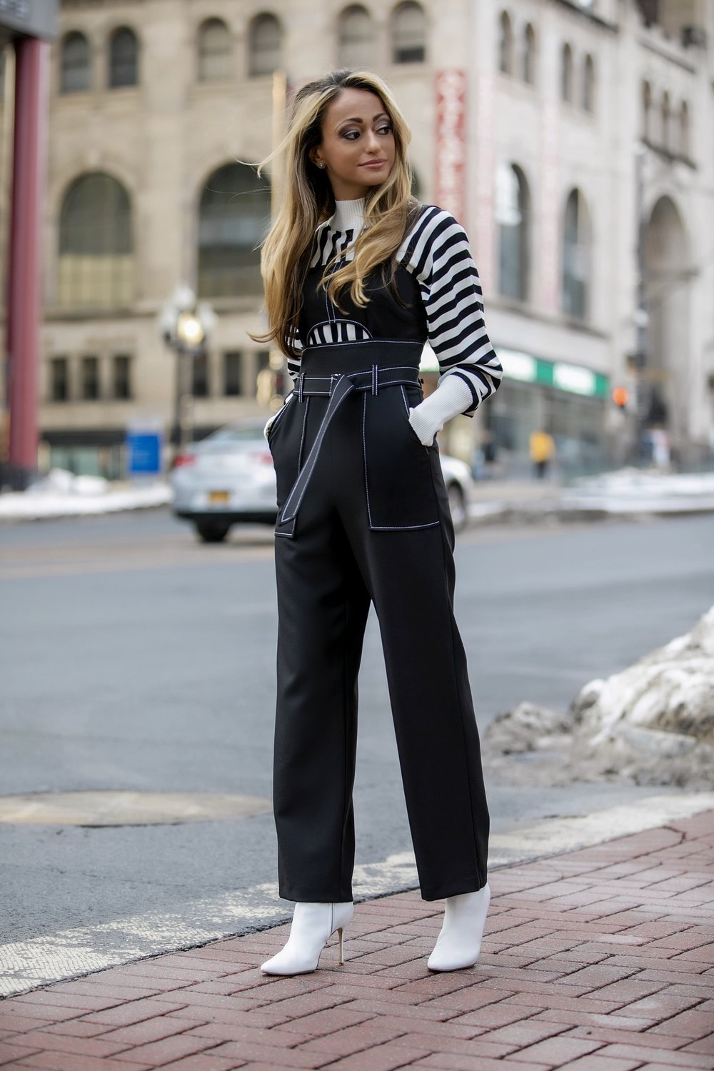 Topshop oversized striped knit and jumpsuit