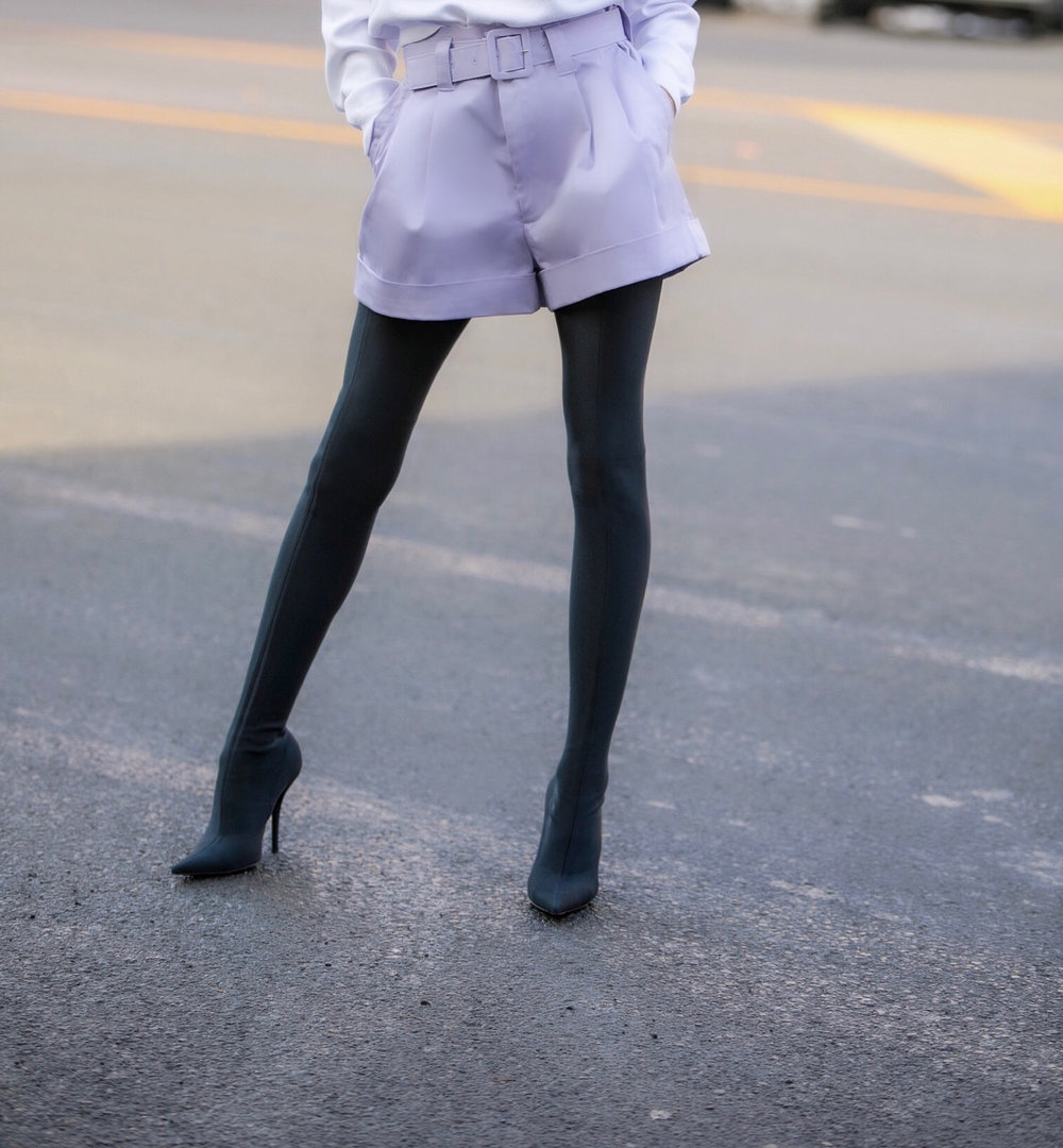 Sweater: Alice & Olivia |Shorts: Marc Jacobs |Boots: Balenciaga     Dino Petrocelli Photography