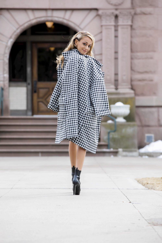 Zara Gingham Jacket & Shorts Suit| Frame Blouse ( similar )| Saint Laurent  Boots     Dino Petrocelli Photography