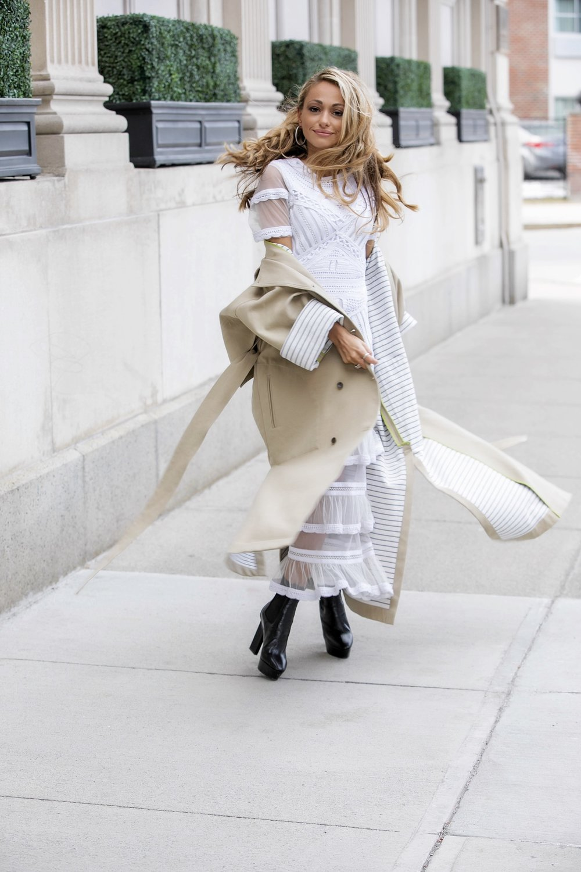 Dress:  Nicole Miller | Trench:  Nicole Miller |Boots: Saint Laurent     Dino Petrocelli Photography