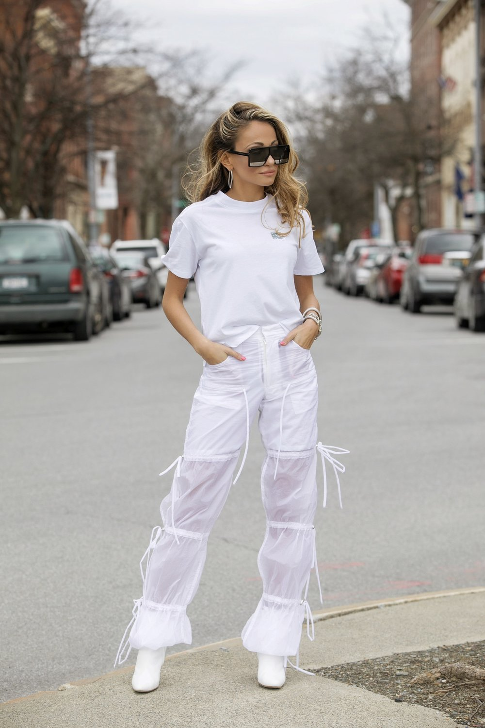 Saint Lauren sunglasses, Kith tee via netaporter, blindness semi-sheer pants, and manolo blahnik boots