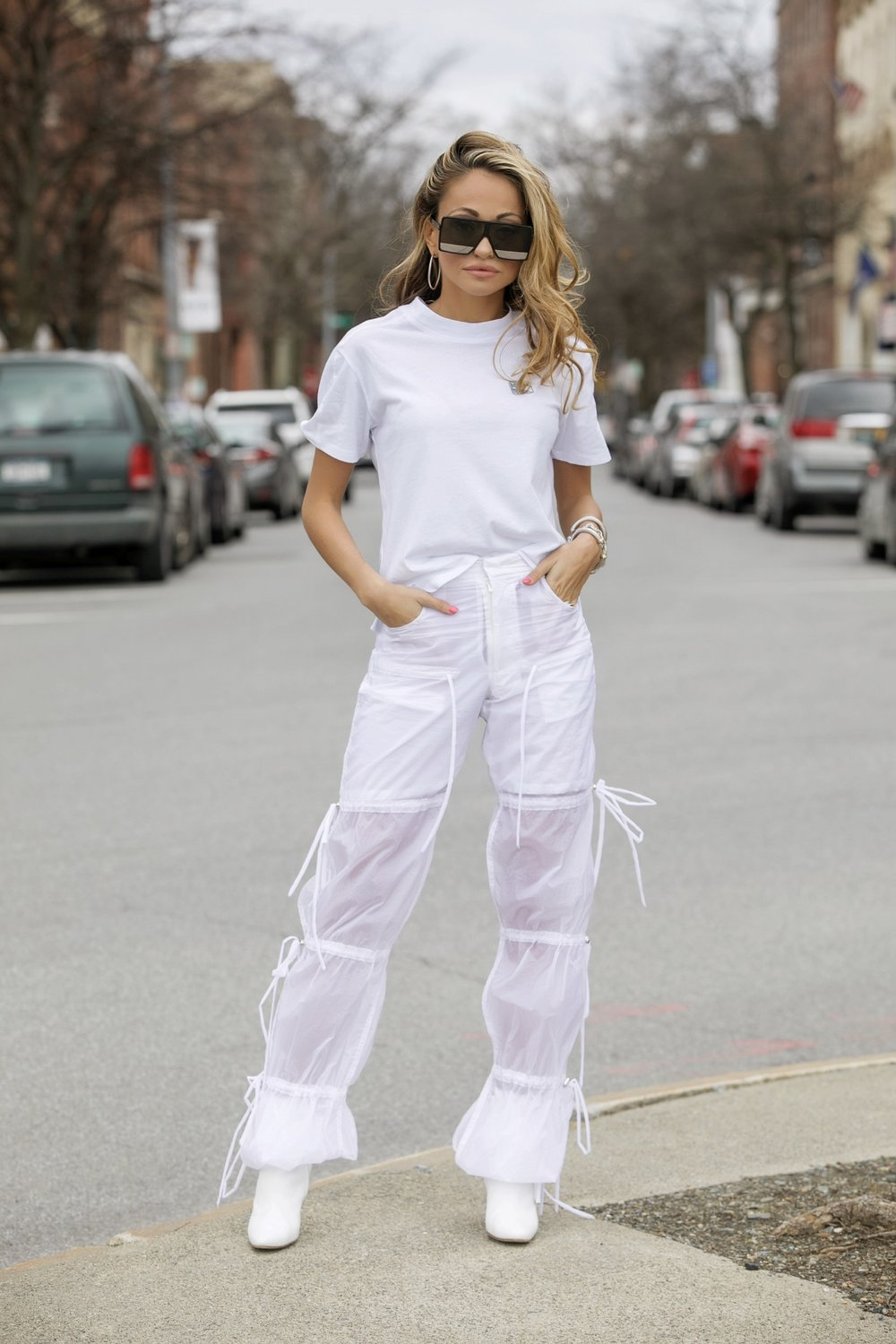 Tee: Kith  via Netaporter|Pants: Blindness |Boots: Manolo Blahnik |Sunnies: Saint Laurent     Dino Petrocelli Photography
