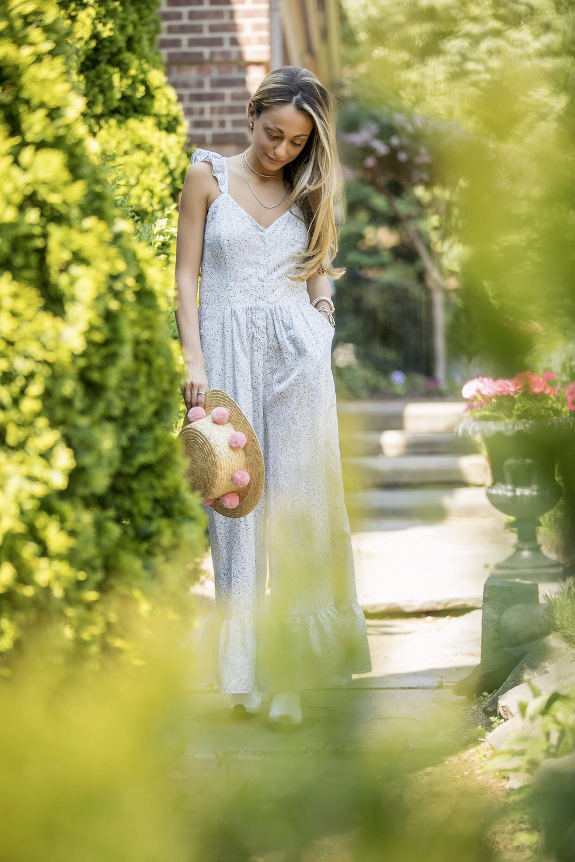 loveshackfancy ruffle floral edeline jumpsuit