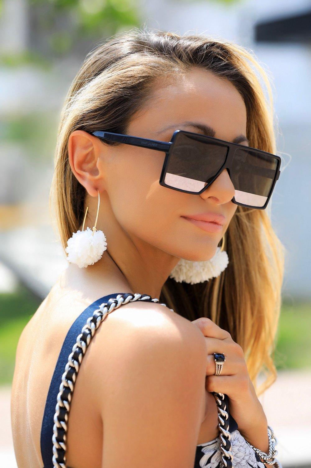 baublebar earrings and saint laurent sunglasses