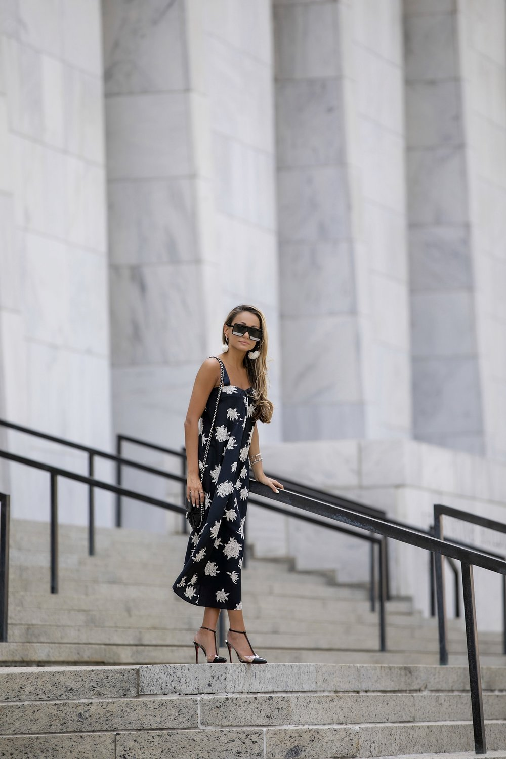summer style in a drape neck dress