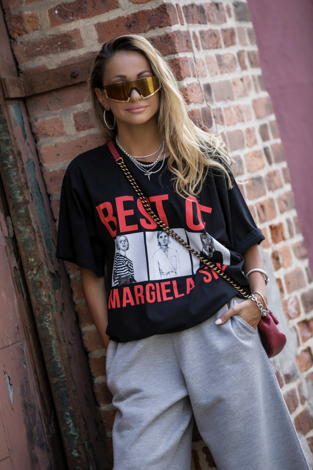 westward leaning sunglasses, MM6 oversized tee and sweatpants, and David Yurman jewelry on Lauren Recchia