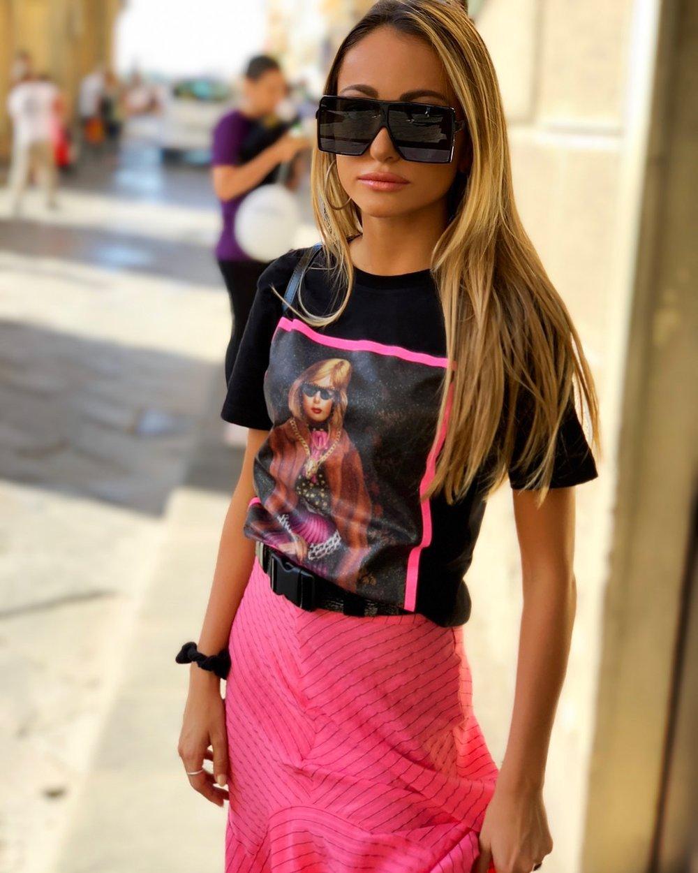 Tee:  Delfi    (see the sweatshirt version    here   ) |Skirt:  Ganni  |Socks:  Balenciaga  |Sneakers:Louis Vuitton