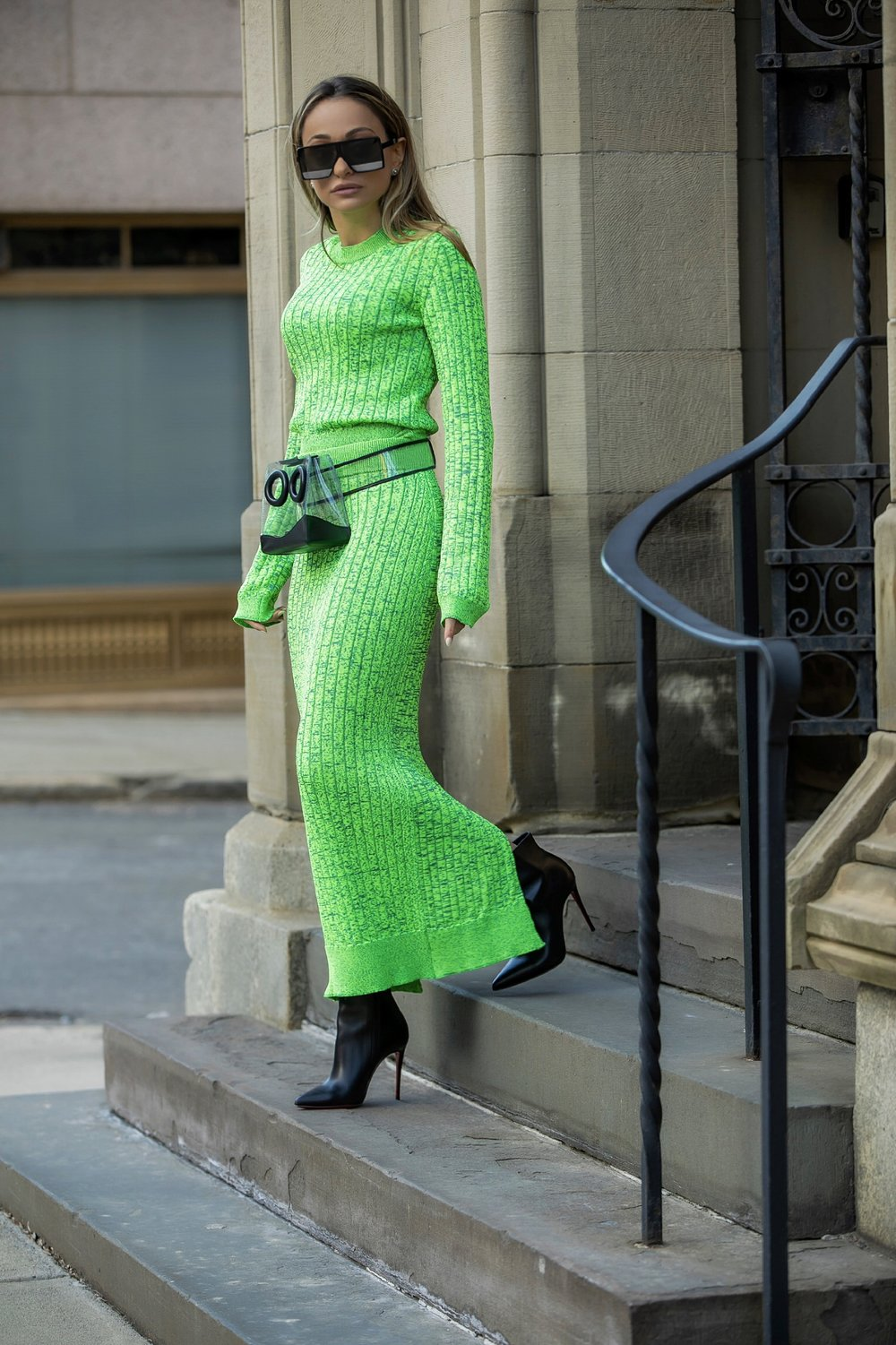 neon green trending for spring. Worn by Lauren Recchia with a Boyy boutique belt bag and Christian Louboutin booties