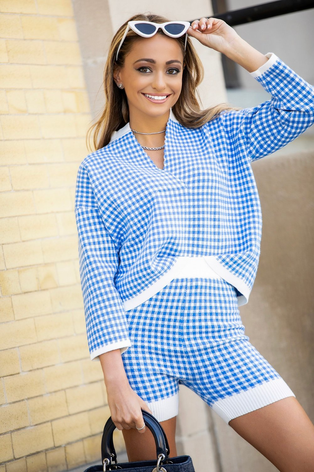 le specs x adam selman sunglasses and checkered asos white set on style blogger lauren recchia of north of manhattan