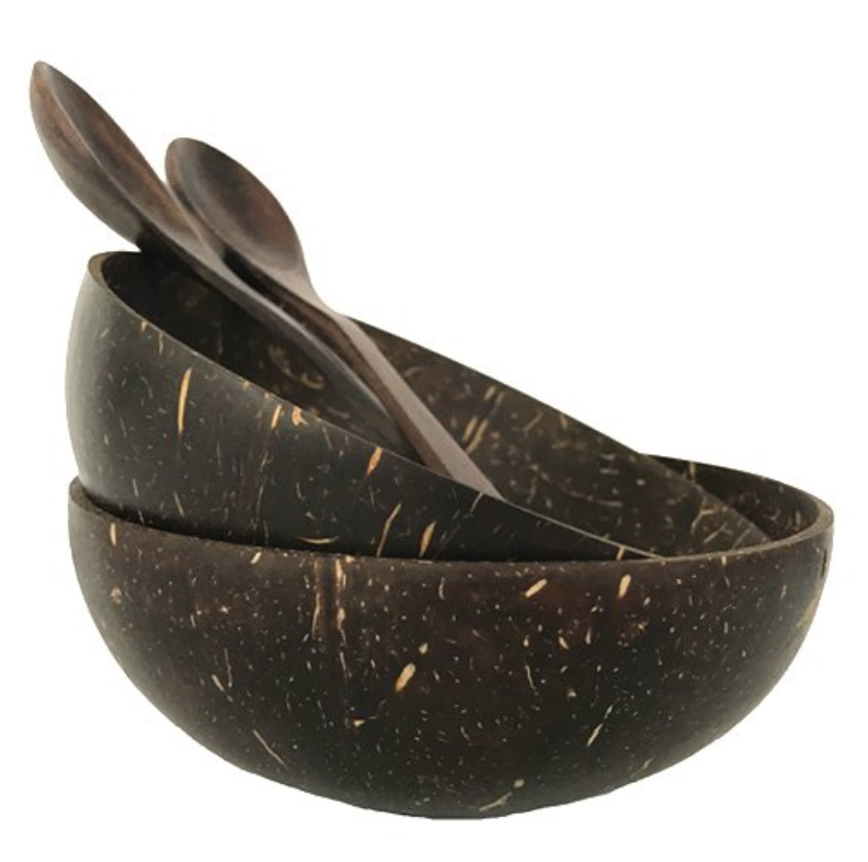 COCONUT BOWL WITH WOODEN SPOON - SET OF TWO BOWLS + SPOONS (HAND MADE)