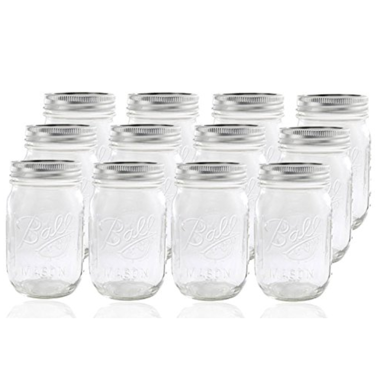 REGULAR MOUTH BALL MASON JARS - SET OF 12 WITH LIDS - 16 OUNCE