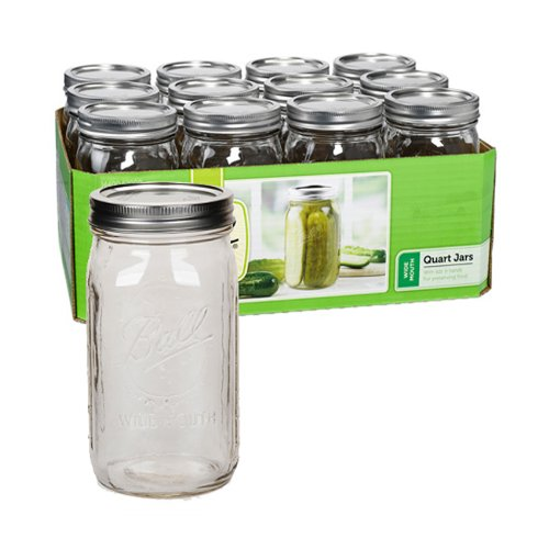WIDE MOUTH  MASON JARS  - SET OF 12 WITH LIDS - 32 OUNCE