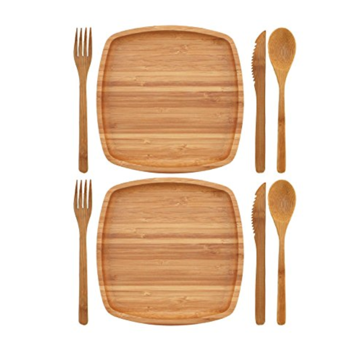 ORGANIC BAMBOO CUTLERY KIT - 2 SETS - 8