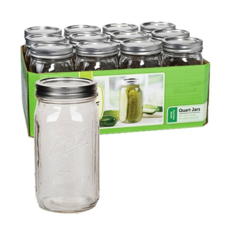 BALL QUART MASON JARS - SET OF 12WIDE MOUTH